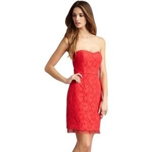 BCBG strapless coral roselle dress lace